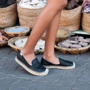 Soludos Black Leather Platform Smoking Shoe